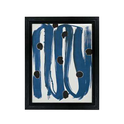 """43 in. x 33 in. """"Blue With Dots"""" Hand Painted Framed Canvas Wall Art"""