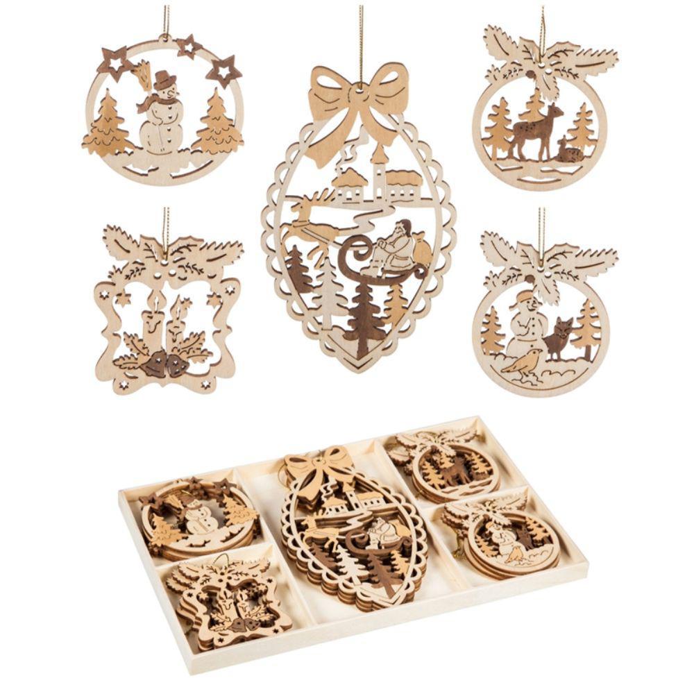 7 in. Wood Woodland Scene Christmas Ornament Box Set (15-Pack)