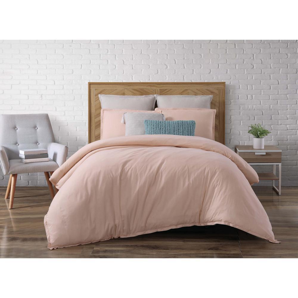 Chambray Loft Blush King Comforter with 2-Shams