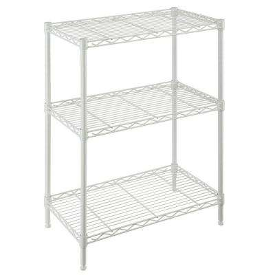 30 in. H x 24 in. W x 14 in. D 3 Shelf Wire Unit in Ivory
