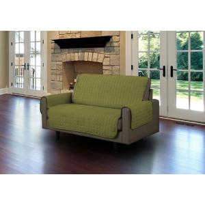 Sage Microfiber Loveseat Pet Protector Slipcover with Tucks and Strap by