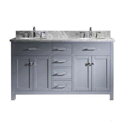 Caroline 60 in. W Bath Vanity in Gray with Marble Vanity Top in White with Round Basin