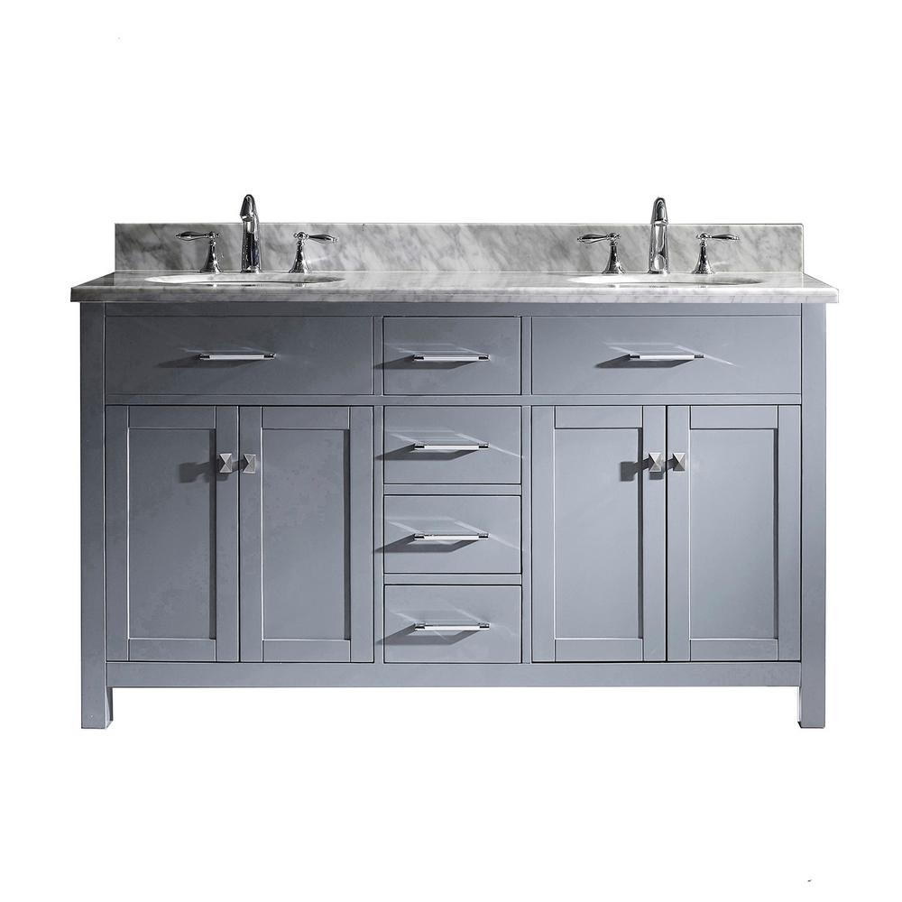 Caroline 60 in. W Bath Vanity in Gray with Marble Vanity