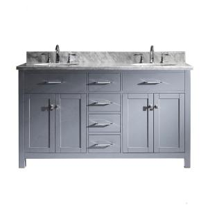 Virtu USA Caroline 60 inch W x 22 inch D Double Vanity in Gray with Marble Vanity Top in White with White Basin by Virtu USA