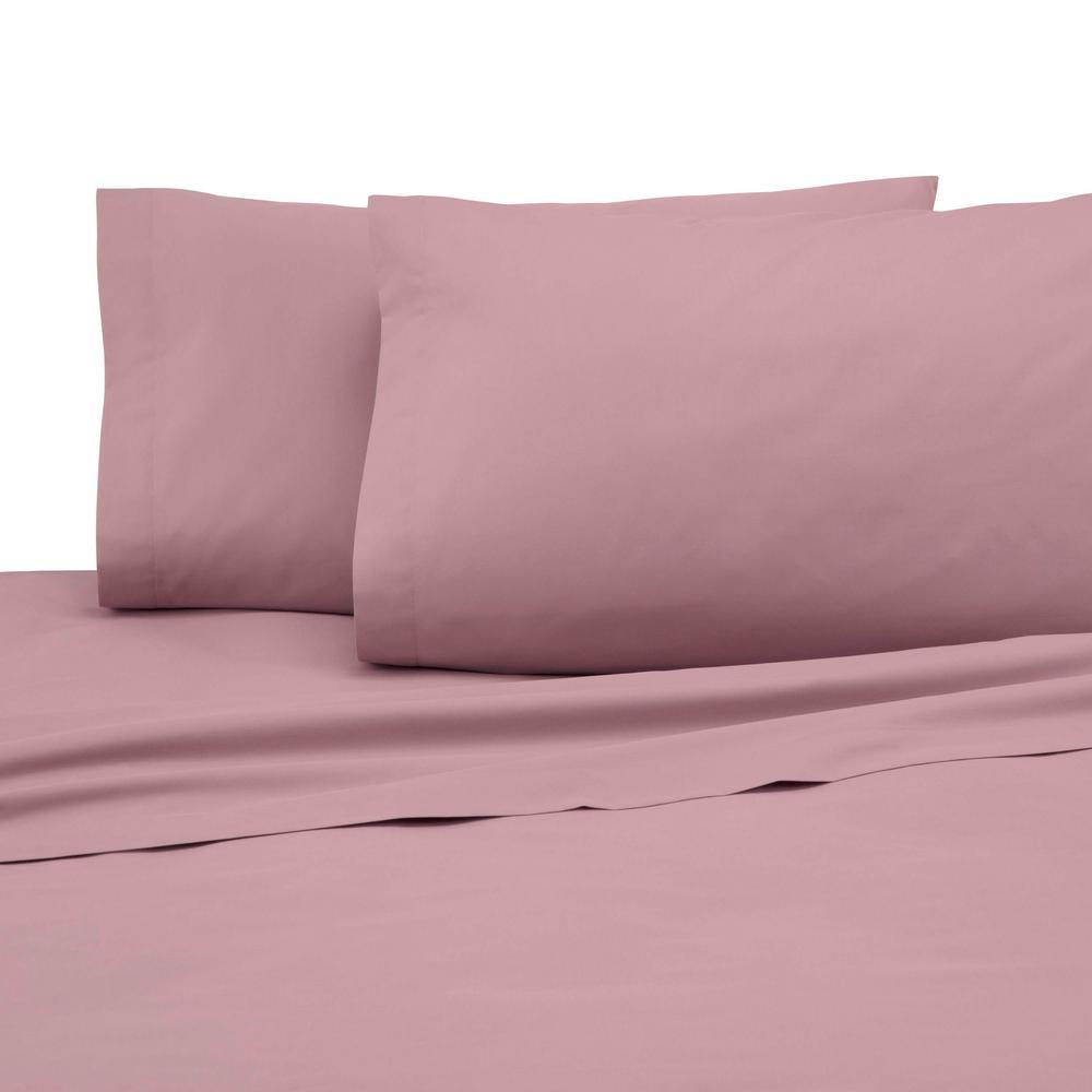 Martex 225 Thread Count Dusty Rose Cotton Queen Sheet Set 028828322012