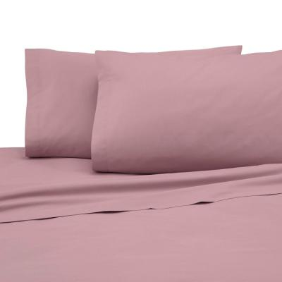 4-Piece Dusty Rose Solid 225 Thread Count Cotton Blend Full Sheet Set