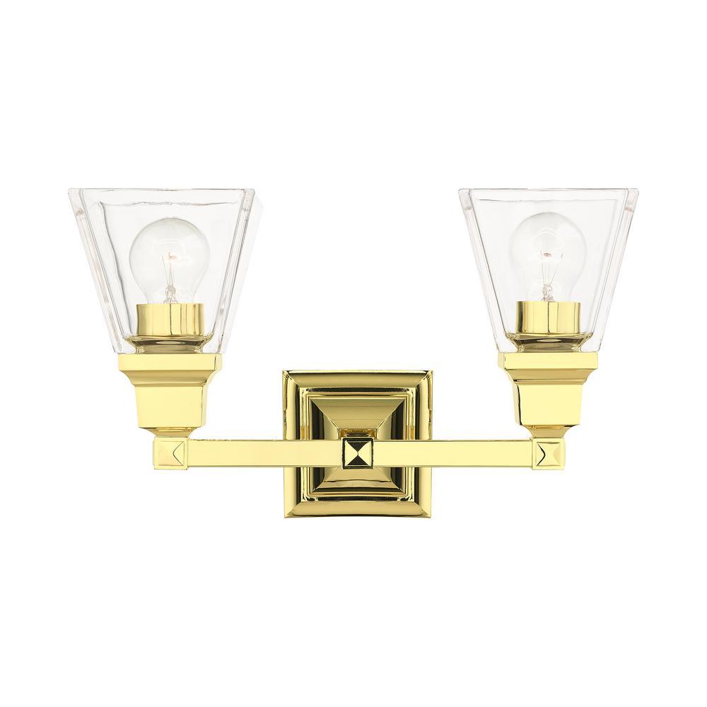 Mission 4.5 in. 2-Light Polished Brass Vanity Light