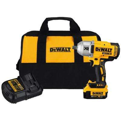 20-Volt MAX XR Li-Ion Brushless High Torque 1/2 in. Impact Wrench w/ Detent Pin Anvil, Battery 4.0Ah, Charger & Tool Bag