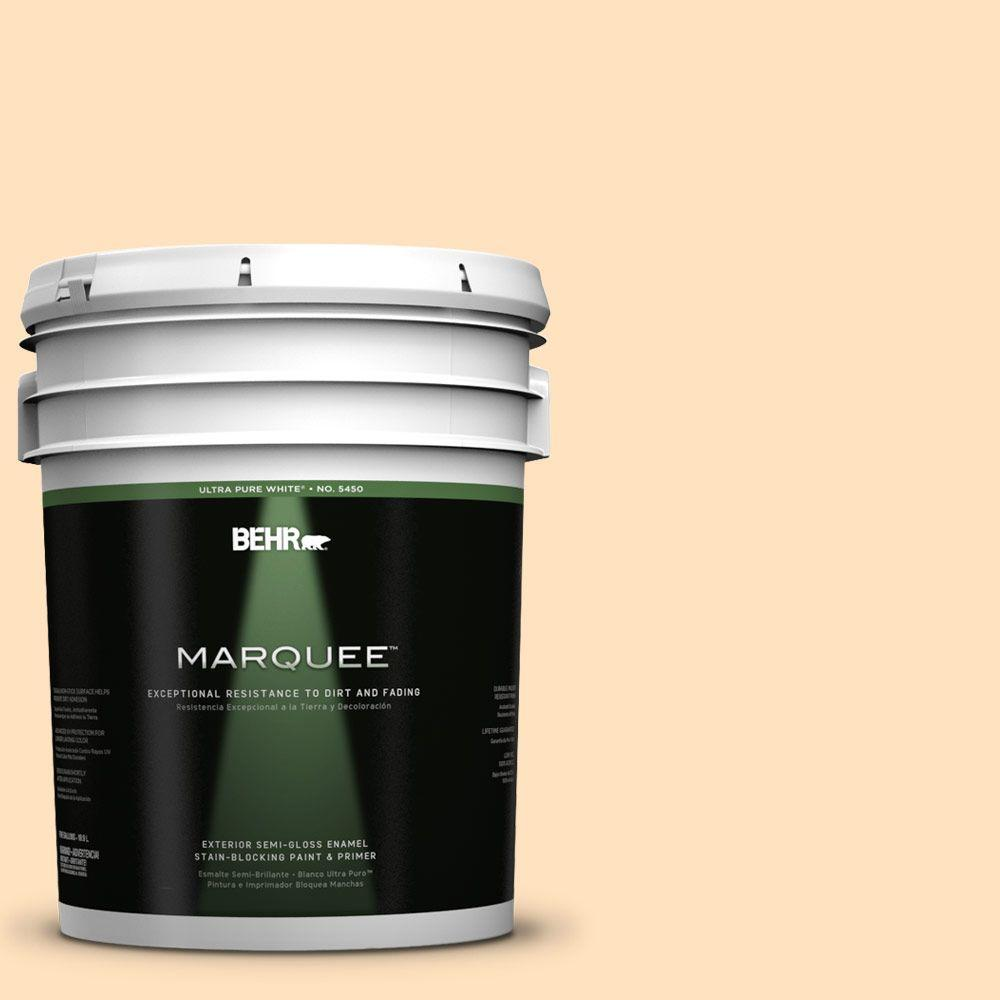 BEHR MARQUEE 5-gal. #320C-2 Cream Yellow Semi-Gloss Enamel Exterior Paint