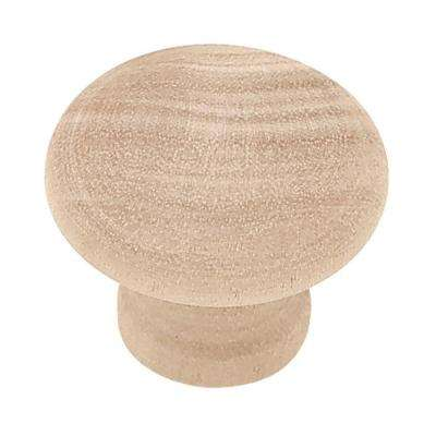 Rowland 1-1/4 in. (32mm) Birch Wood Round Cabinet Knob