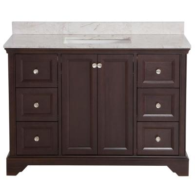 Stratfield 49 in. W x 22 in. D Bathroom Vanity in Chocolate with Stone Effect Vanity Top in Dune with White Sink