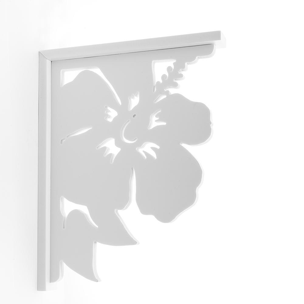 Decorative 9-1/2 in. PVC Hibiscus Shelf Bracket