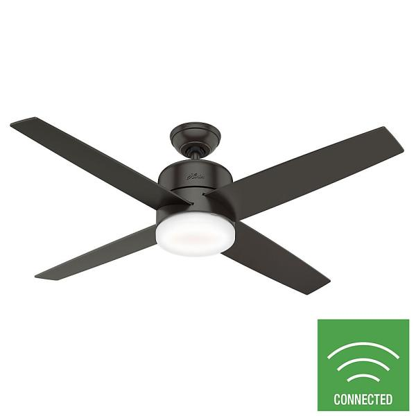 Hunter Advocate 54 In Integrated Led Indoor Noble Bronze Ceiling Fan With Light Kit And Remote 59366 The Home Depot