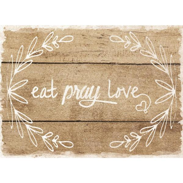 MHF Home Eat, Pray, Love Brown 18 in. W x 13 in. L Polypropylene Placemat Set (4-Pack)
