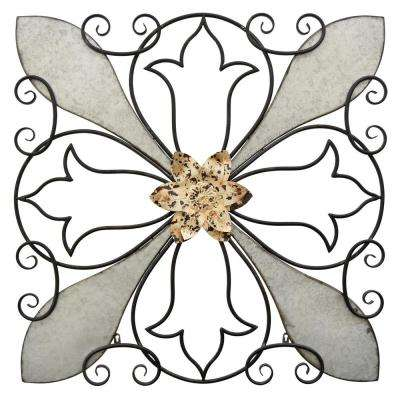 Metal Wall Art Finished in Gray - 36.5 X 1.25 X 36.5