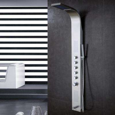 63 in. Stainless Steel Rainfall Shower Panel Tower Rain Massage System Thermostatic Faucet with Jets & Hand Shower, cUPC