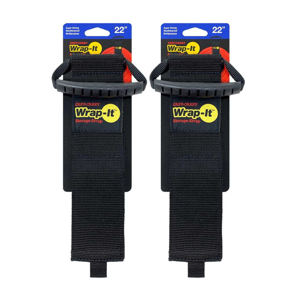 Wrap-It Storage Wrap-It Storage 22 in. Easy-Carry Storage Strap Heavy-Duty Hoop and Loop Cord and Hose Carrying Strap with Handle in Black (2-Pack)