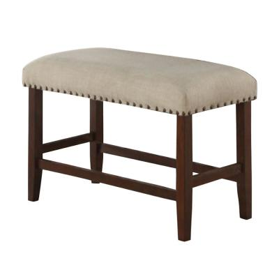 Cream and Brown Rubber Wood High Bench