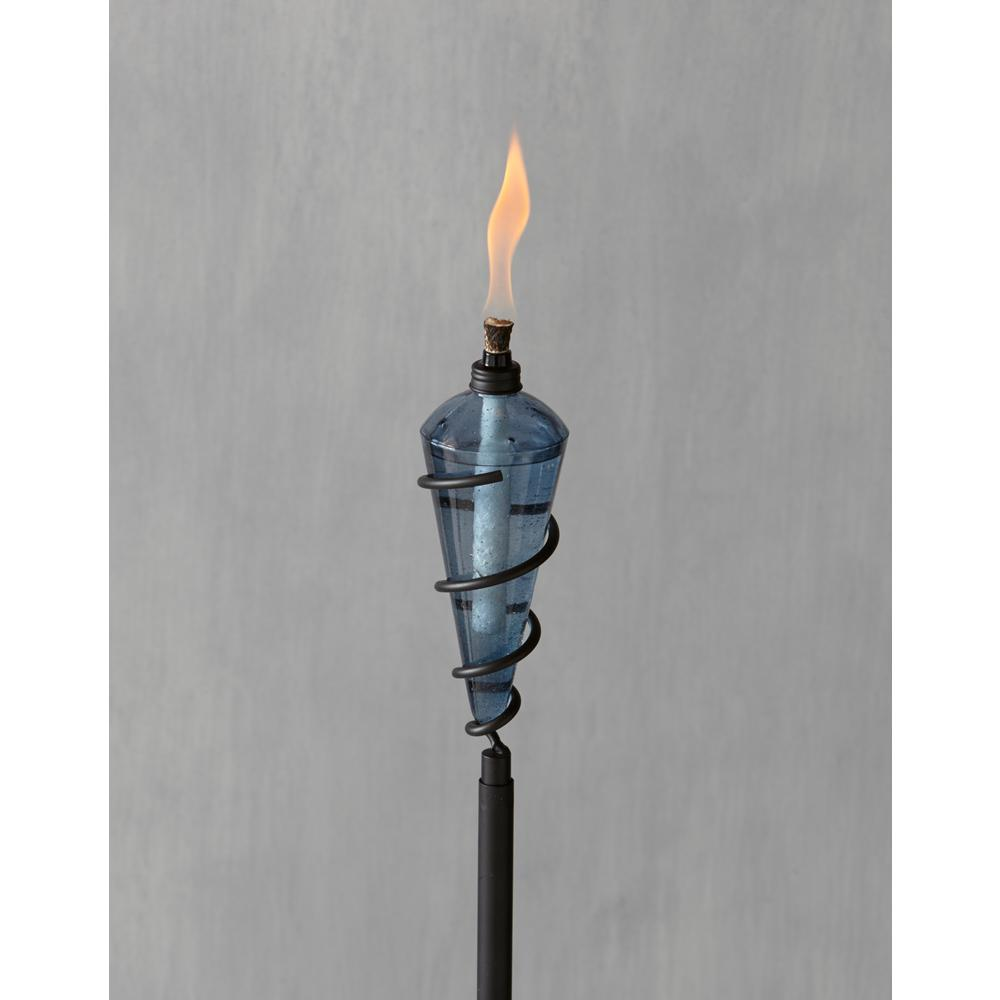 Tiki 64 In Swirl Metal Torch With Teal Blue Glass Head