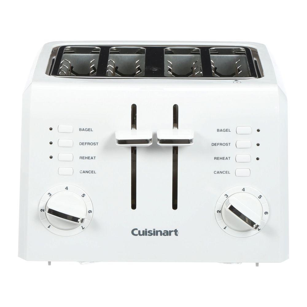 Cuisinart Compact 4-Slice White Wide Slot Toaster with Crumb Tray