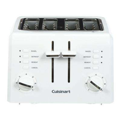 Compact 4-Slice White Wide Slot Toaster with Crumb Tray