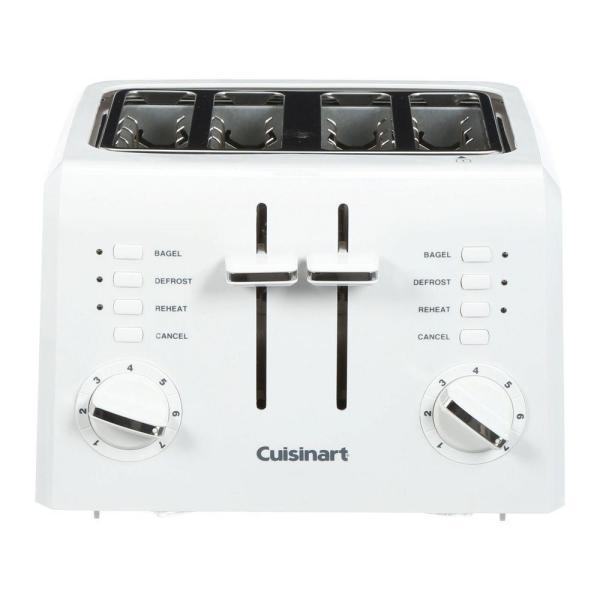 Cuisinart Compact 4-Slice White Wide Slot Toaster with Crumb Tray CPT-142