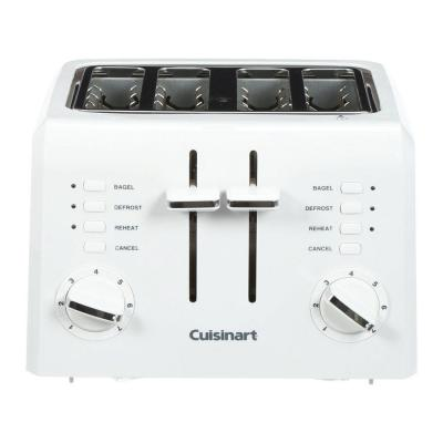 Compact 4-Slice White Wide Slot Toaster