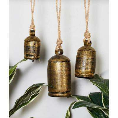 Gold Brass Iron Bells with Rope Hangers (Set of 3)