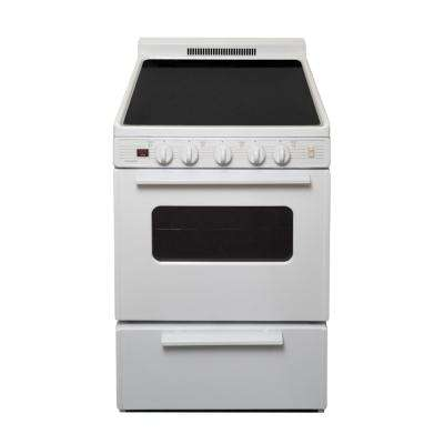 24 in. 2.97 cu. ft. Freestanding Smooth Top Electric Range in White