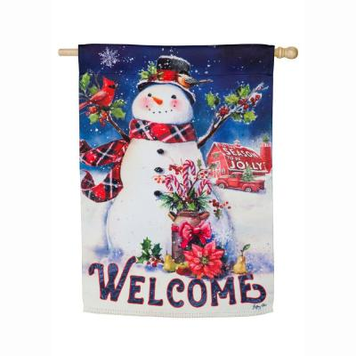 28 in. x 44 in. Christmas Barn Snowman House Suede Flag