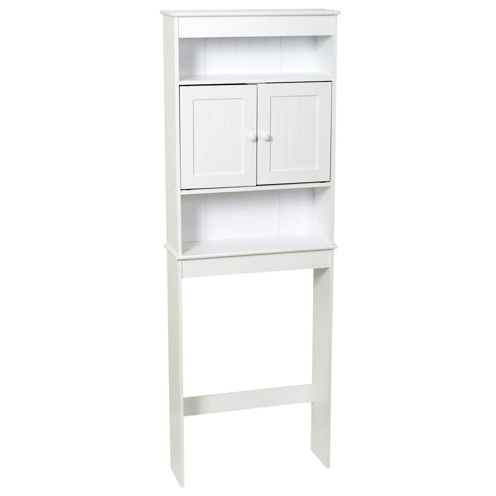 zenna home 23 14 in w x 66 12 in h x 7 12 in d 3 shelf over the toilet storage cabinet in white e9119w the home depot - Over The Toilet Cabinet