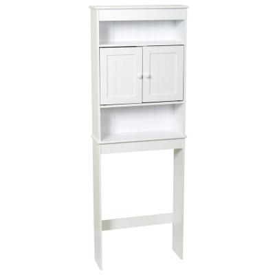 23-1/4 in. W x 66-1/2 in. H x 7-1/2 in D 3-Shelf Over the Toilet Storage Cabinet in White