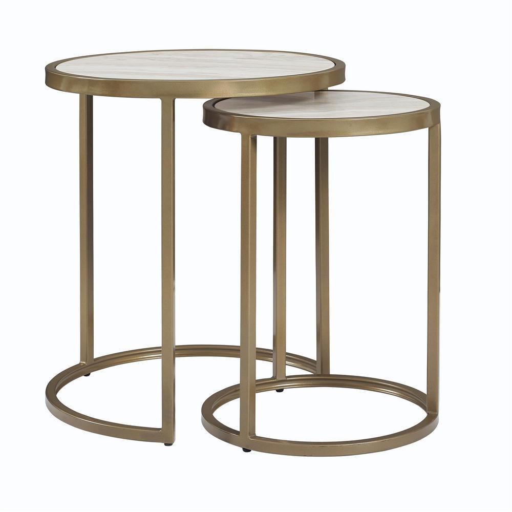 Dorel Living Terra Brass Nesting Tables FH7837