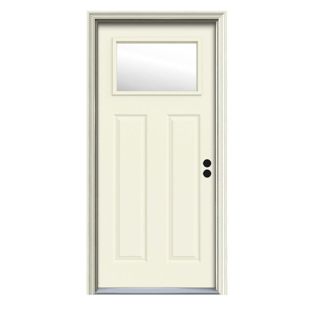 34 in. x 80 in. 1 Lite Craftsman Vanilla Painted Steel Prehung Left-Hand Inswing Front Door w/Brickmould