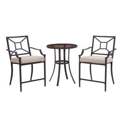 Laredo 3-Piece Metal Outdoor Balcony Height Bistro Set with Tan Cushions