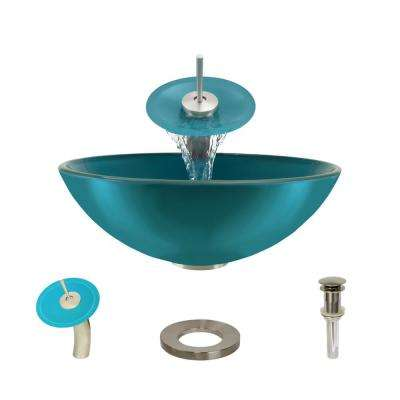 Glass Vessel Sink in Cerulean with Waterfall Faucet and Pop-Up Drain in Brushed Nickel