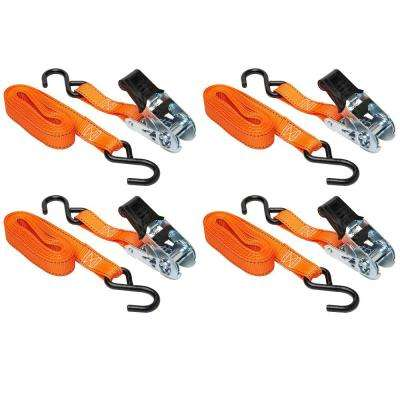 14 ft. x 1 in. Ratchet Tie-Down, 400 lbs. WLL (1200 lbs. Break Strength) 4-Pack