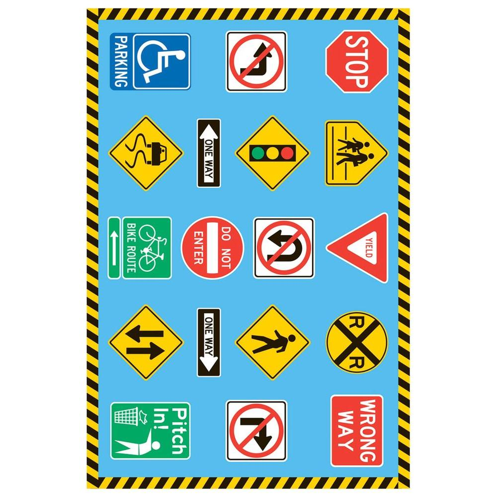 LA Rug Fun Time Traffic Signs Multi Colored 19 in. x 29 in. Accent Rug