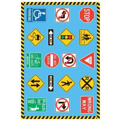 Fun Time Traffic Signs Multi Colored 2 ft. x 2 ft. Area Rug