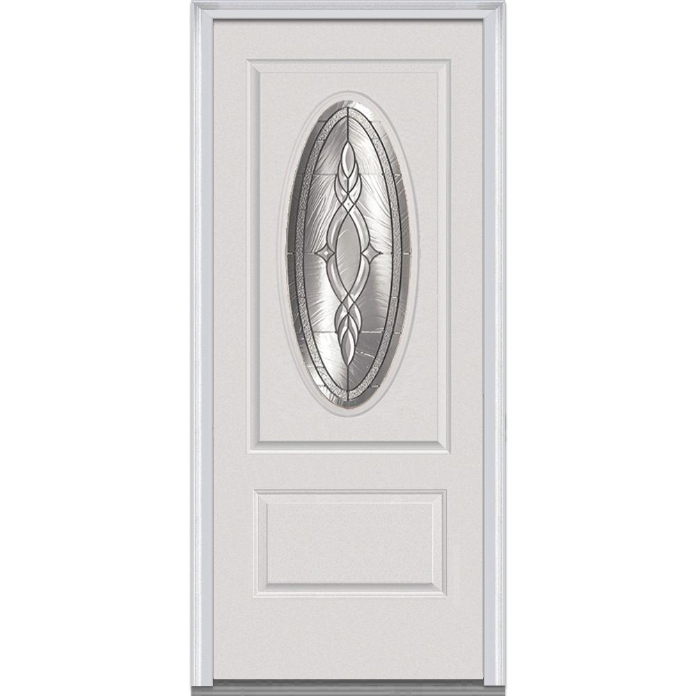 36 in. x 80 in. Brentwood Right-Hand 3/4 Oval Lite 1-Panel