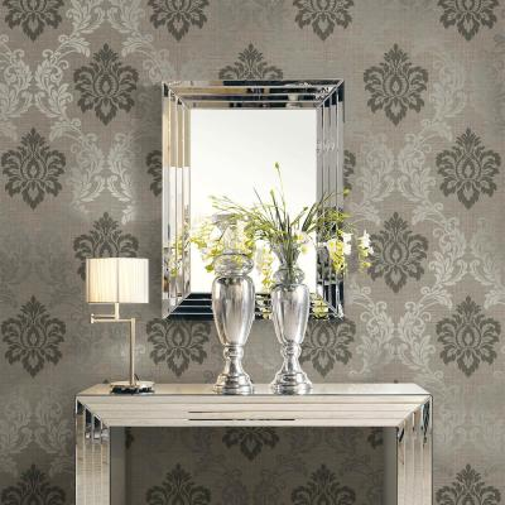 60.8 sq. ft. Adela Light Brown Twill Damask Wallpaper