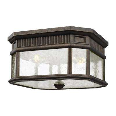 Cotswold Lane Grecian Bronze 2-Light Outdoor Flush Mount