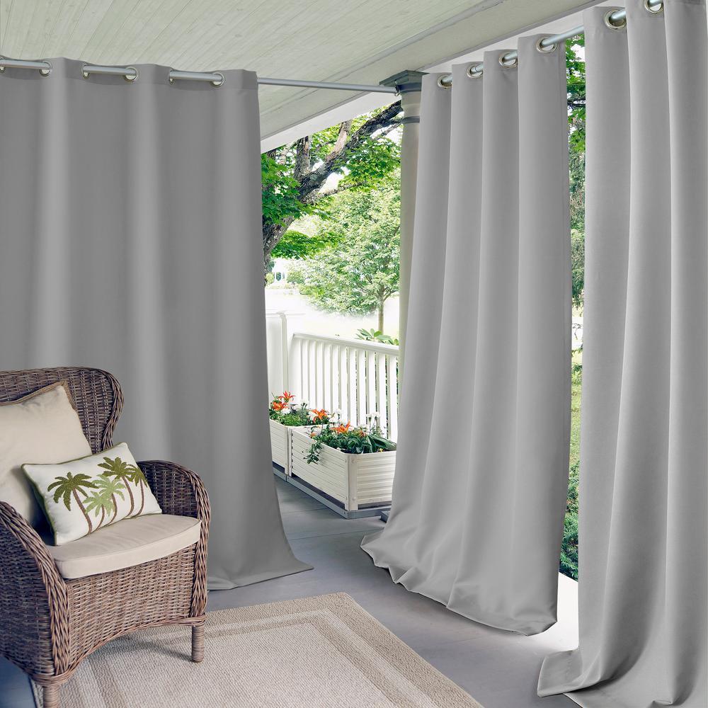 Connor 52 in. W x 95 in. L Indoor/Outdoor Solid Grommet Window Curtain Gray