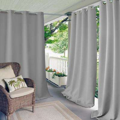 Connor 52 in. W x 108 in. L Indoor/Outdoor Solid Grommet Window Curtain Gray