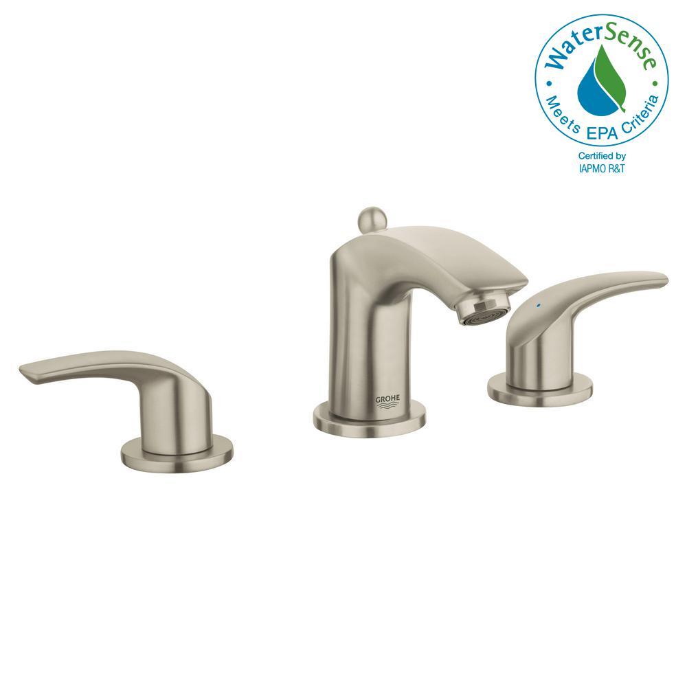Eurosmart 8 in. Widespread 2-Handle 1.2 GPM Bathroom Faucet in Brushed Nickel InfinityFinish