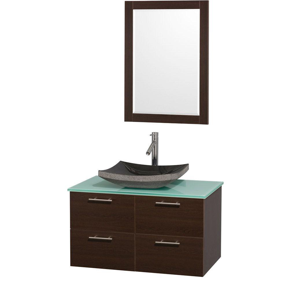 Amare 36 in. Vanity in Espresso with Glass Vanity Top in Aqua and Black Granite Sink