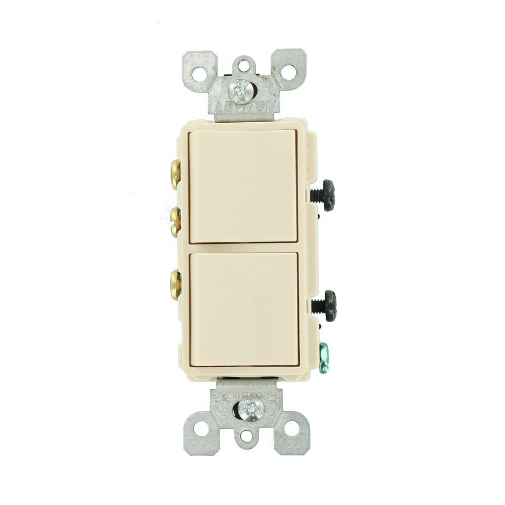 Decora 15 Amp 3-Way AC Combination Switch, Light Almond