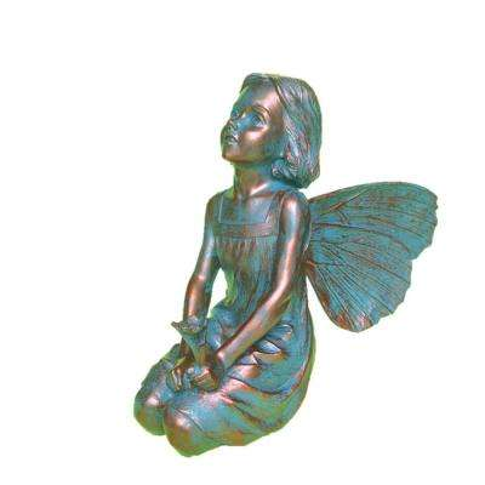 12 in. H Rebecca Fairy Home Patio and Garden Statue in Bronze Patina