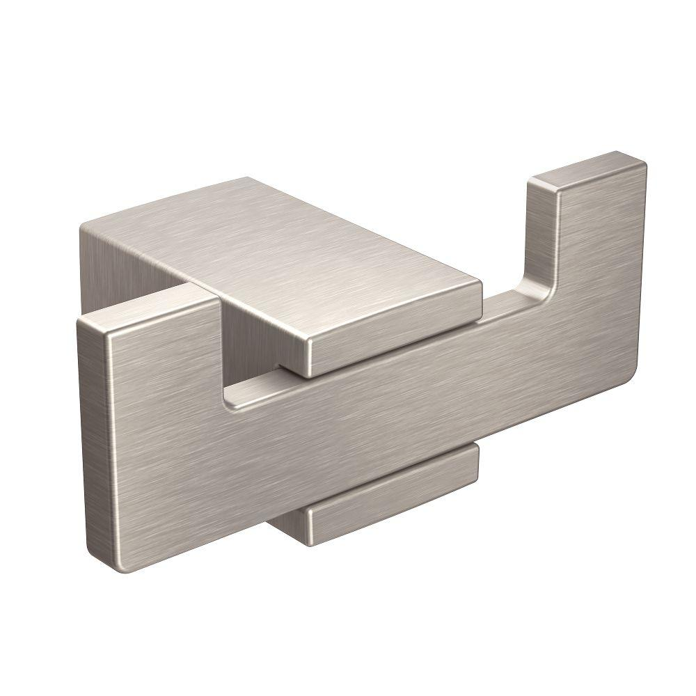 Kyvos Double Robe Hook in Brushed Nickel