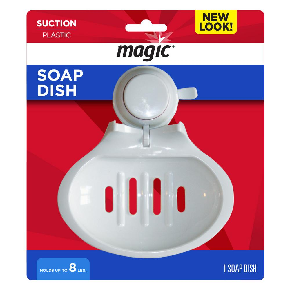 Magic Suction Soap Tray in White